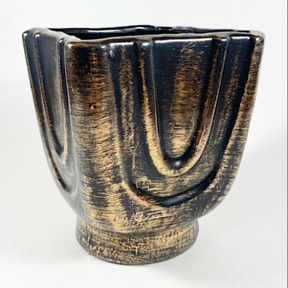 Vintage black and gold vase